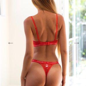 00232b5e8 Lounge Intimates   Sleepwear - Lounge Underwear Red Balcony Bra and Thong